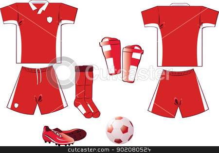 red and white soccer equipment stock vector.