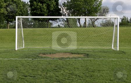 Wide Open Soccer Net stock photo.