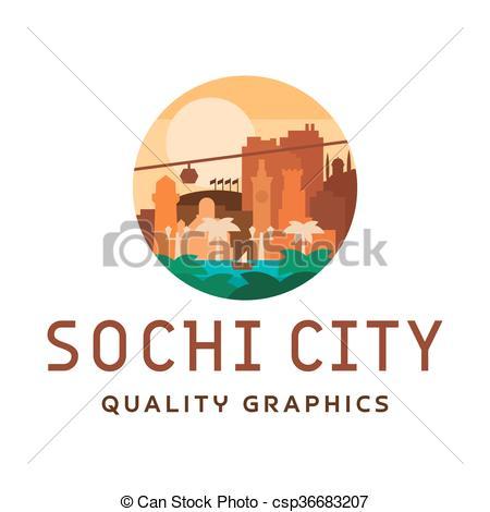 Vector Clipart of Sochi light sunny city vector illustration sea.