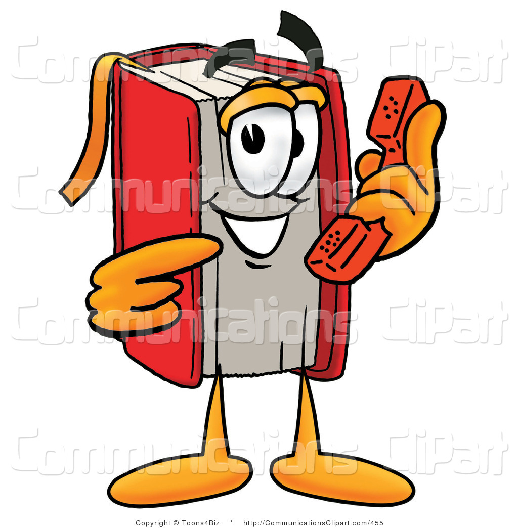Communication Clipart of a Sociable Red Book Mascot Cartoon.