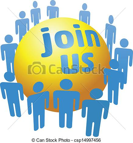 Clipart Vector of People join social company group.