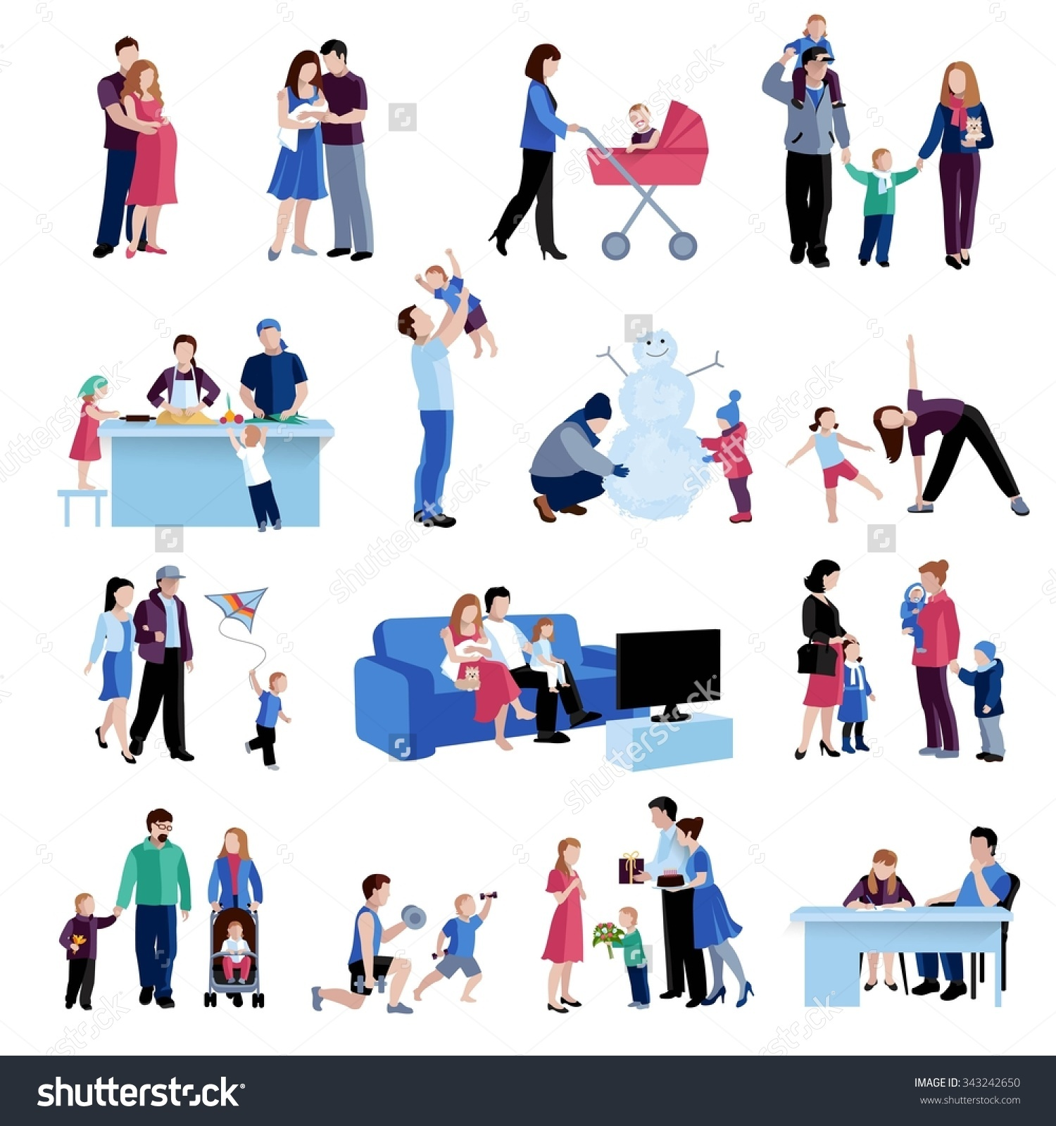 Parenting Activities Flat Icons Set Mother Stock Vector 343242650.