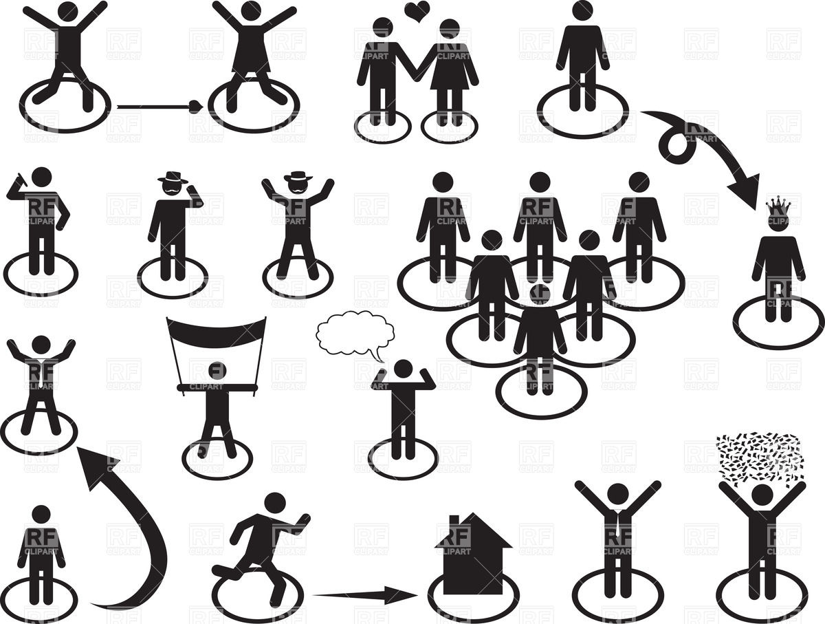 Pictograms and icons of people's social activities Vector Image.
