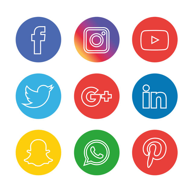 Social Media Icons Set, Social, Media, Icon PNG and Vector.