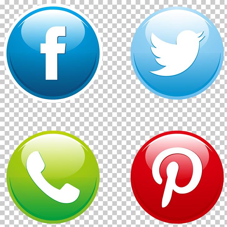 Social media Button Euclidean Icon, social media buttons set.