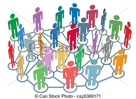 Vector Clip Art of Many people group talk network social media.