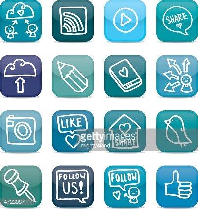 Sharing and social media glossy icon set Clipart Image.