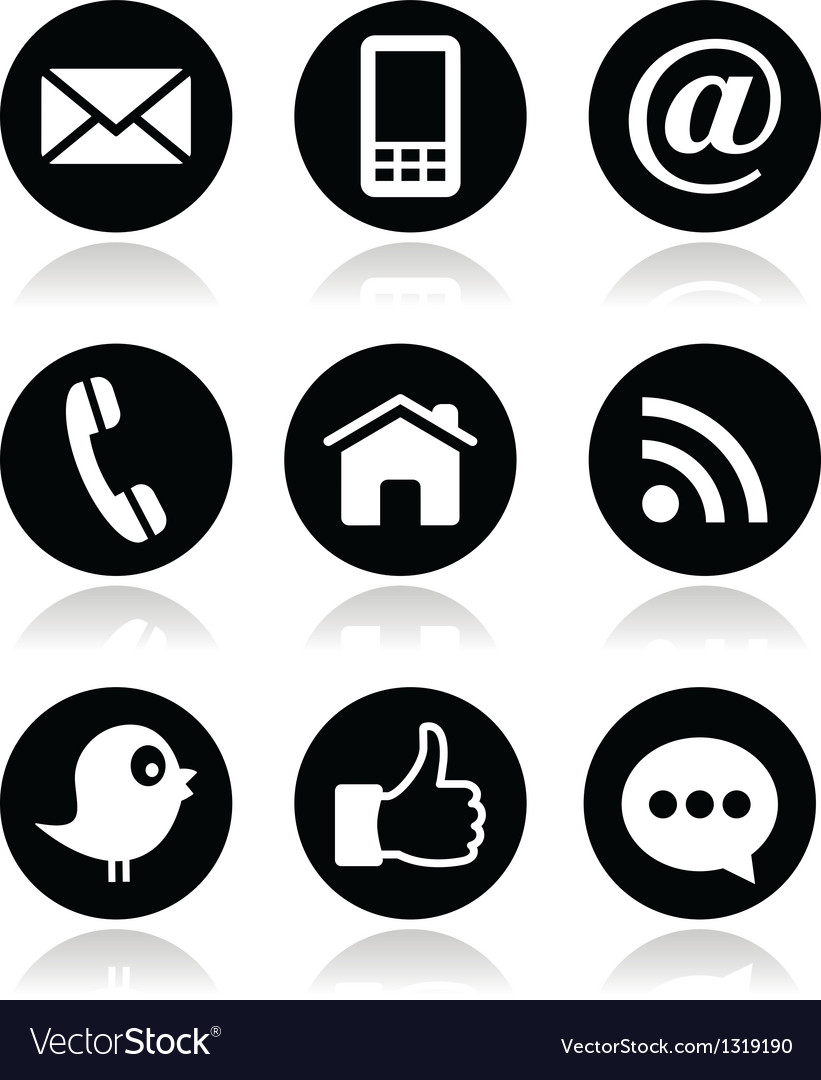 Contact web blog and social media round icons.