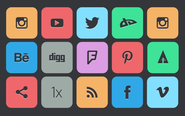130 Flat Social Media Icons.