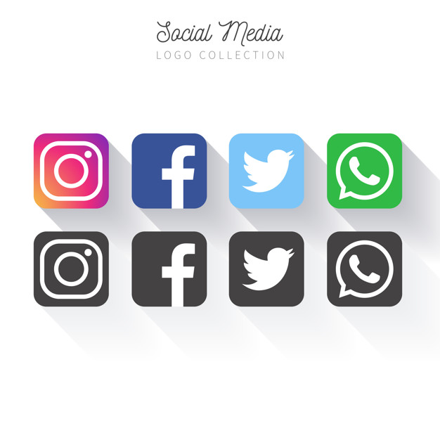 Popular social media logo collection Free Vector.