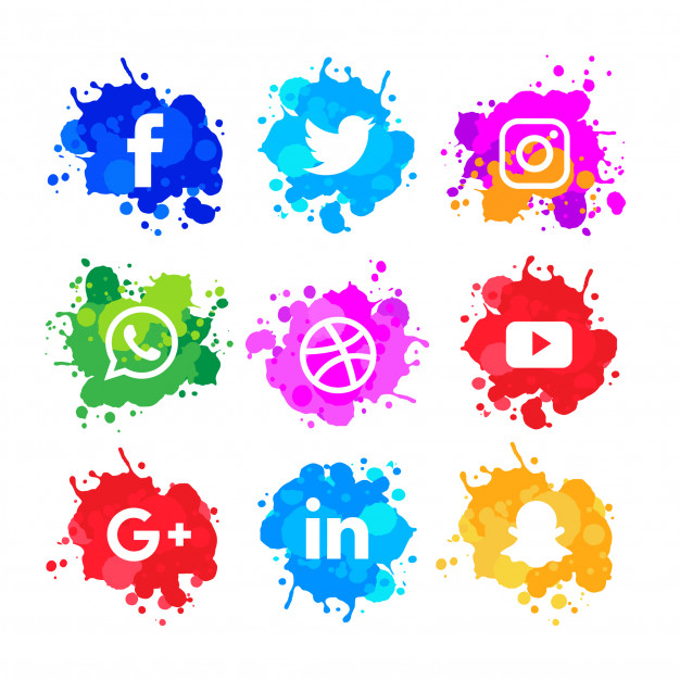 Modern watercolor slash social media icons pack Free Vector.