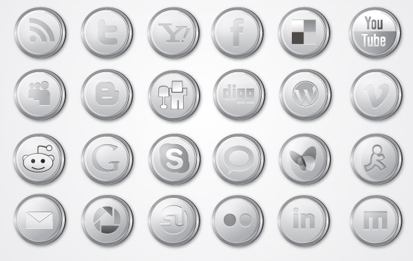 Silver Social Media Icon Pack Clipart Graphic.