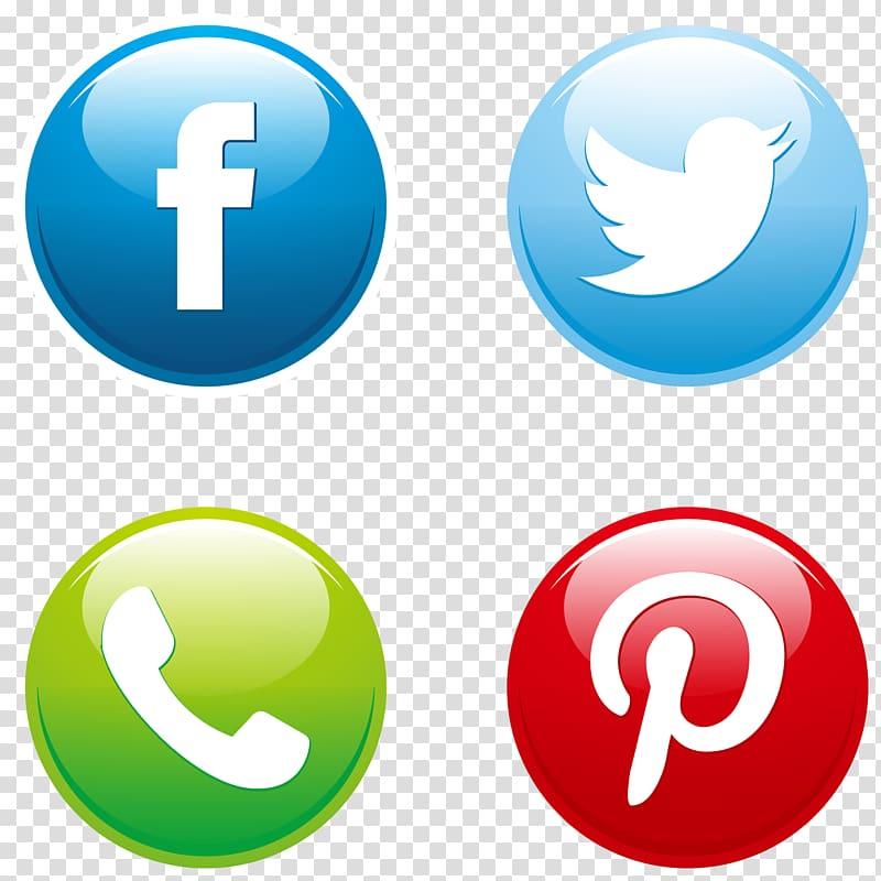 Facebook, Twitter, Pinterest, and Call logos, Social media.