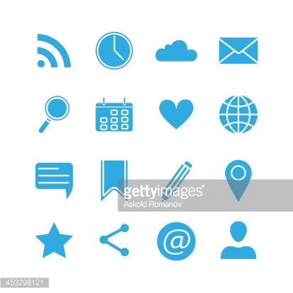 Silhouette social media icons set Clipart Image.