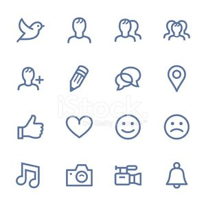 Set of simple social media icons Clipart Image.