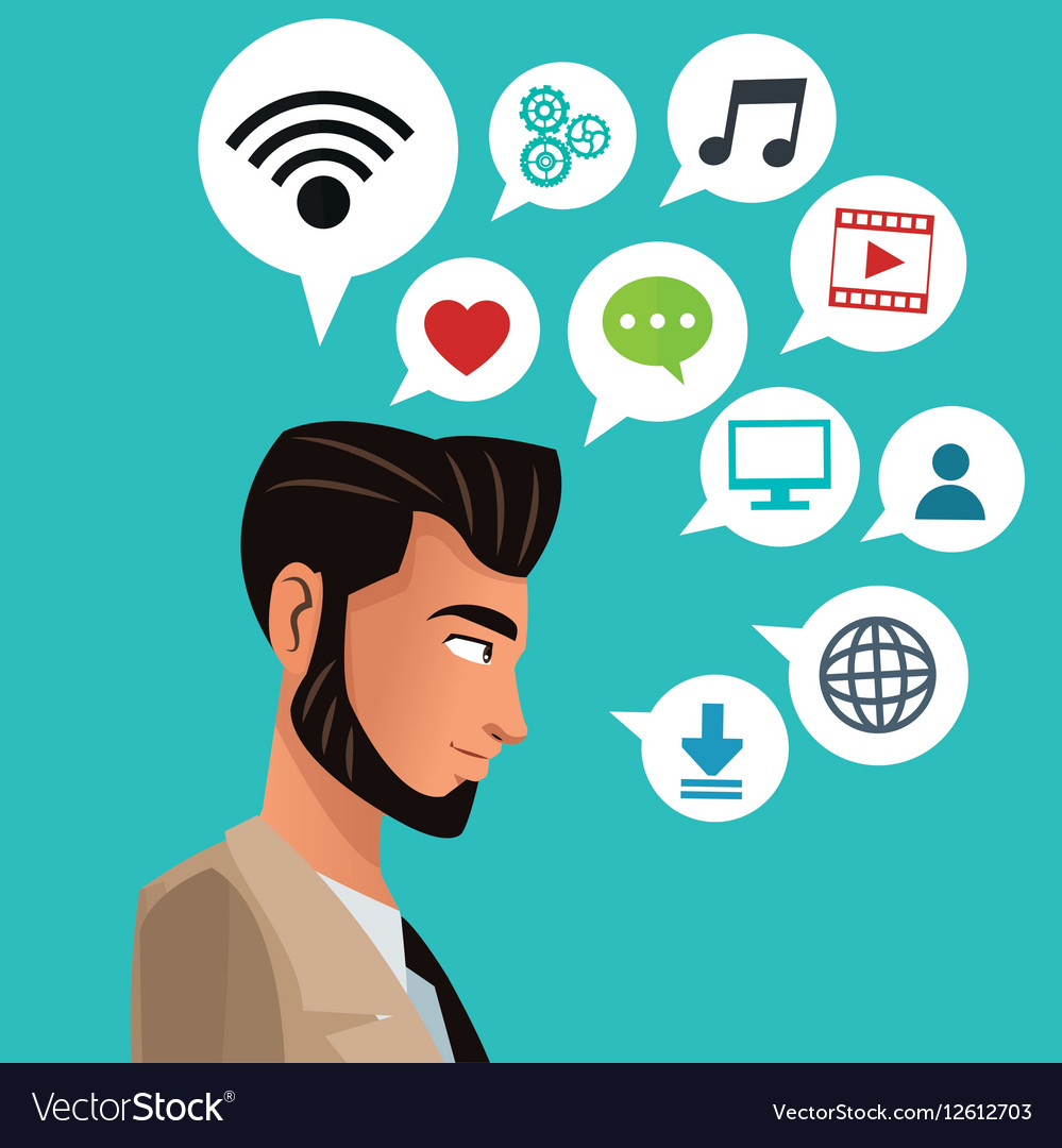 Man bearded business with social media icons.