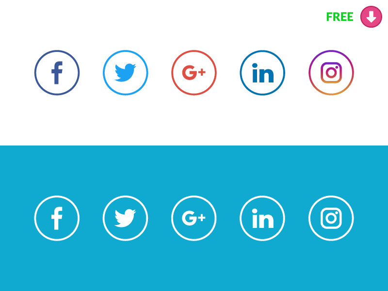 New Free Social Media icons with original colors.