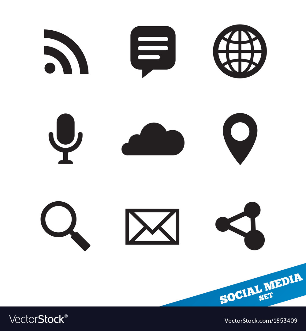 Social media icons Black signs for app.