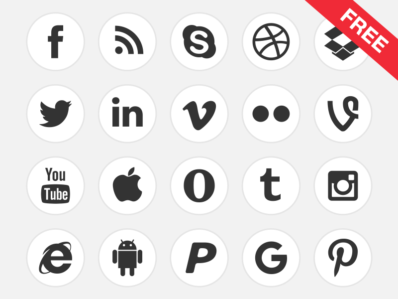 FREE Black & White Social Media and Logo Icons.