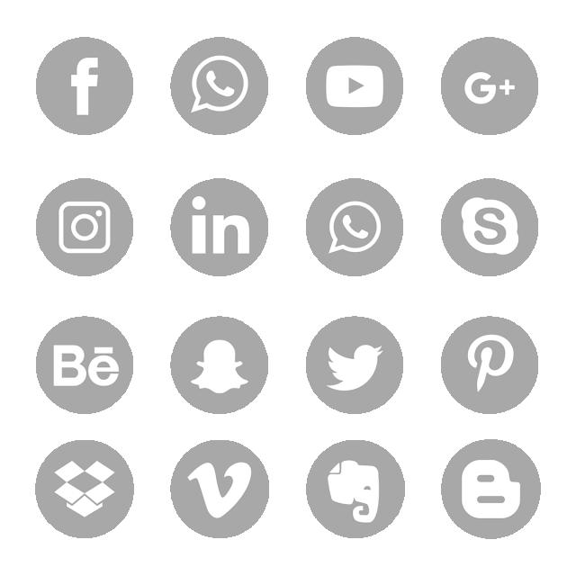 Gray Social Media Icons Set Symbol, Social Media Icons.