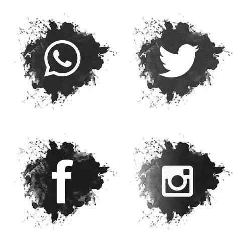 Social media black grunge icons set.