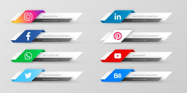 Modern social media lower third collection Vector.