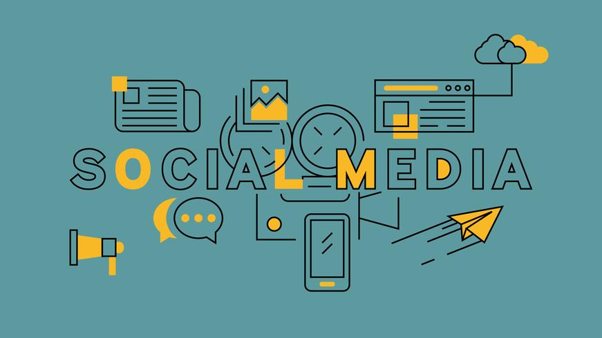 Social Media Orange In Blue Line Design. Online Marketing.