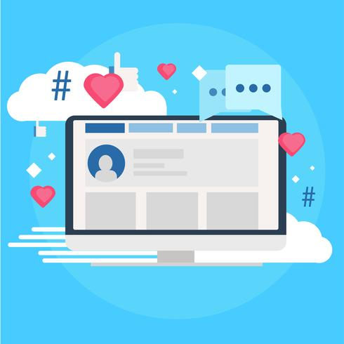 Social media marketing banner. Computer with likes, cloud.