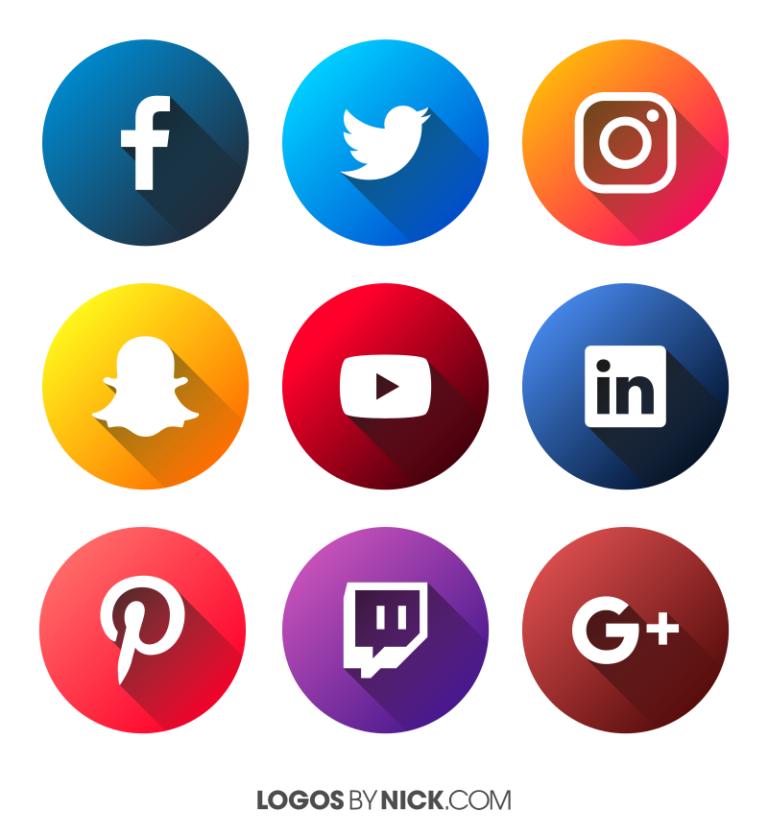 Social media logos for 2018 in 2019.