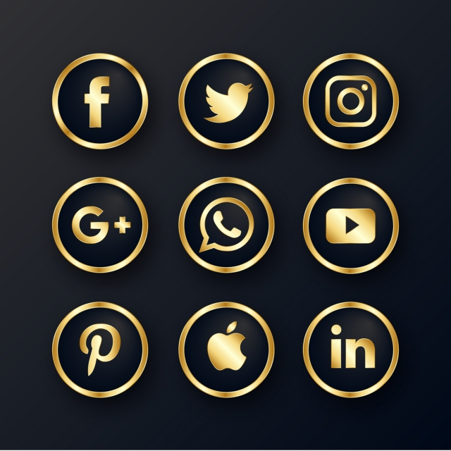 Luxury Golden Social Media Icons Pack, Lucury, Golden PNG.
