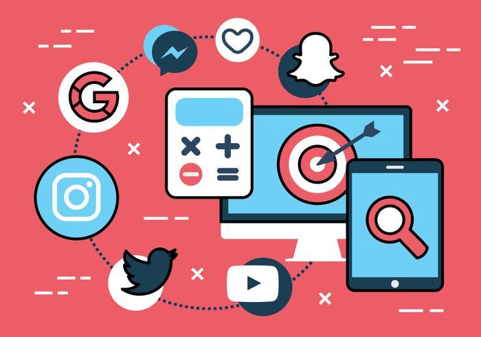 Free Flat Social Media Vector Icons.