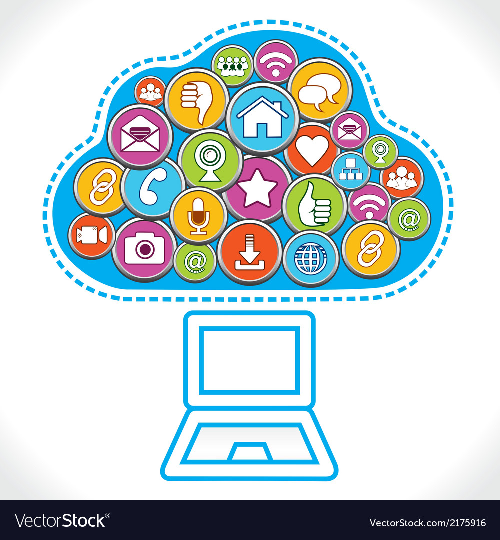 Different social media icons make cloud.