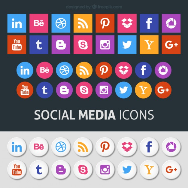 Colored social media icons Vector.