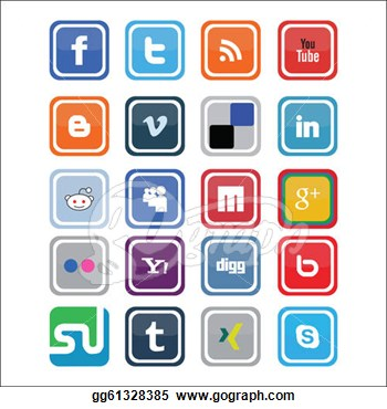 Social media clipart vector.