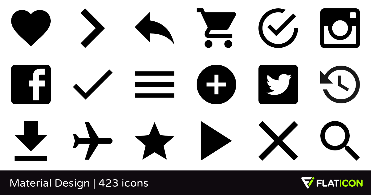 Material Design +420 free icons (SVG, EPS, PSD, PNG files).
