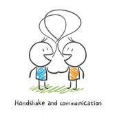 Clip Art of The two men shake hands, and socialize. Illustration.