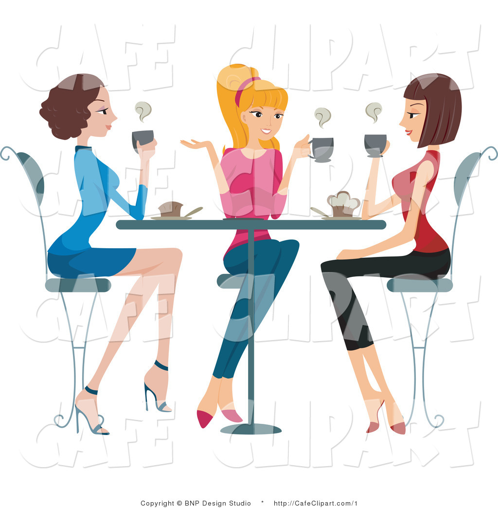 Vector Clip Art of Girls Enjoying Coffee While Socializing at a.