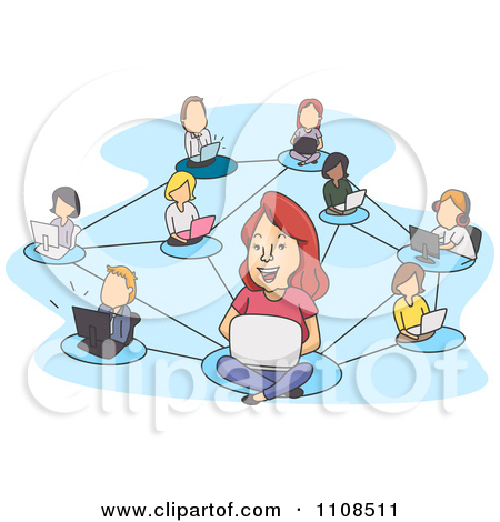 Clipart Network Of Socializing People And Laptops Over Blue.