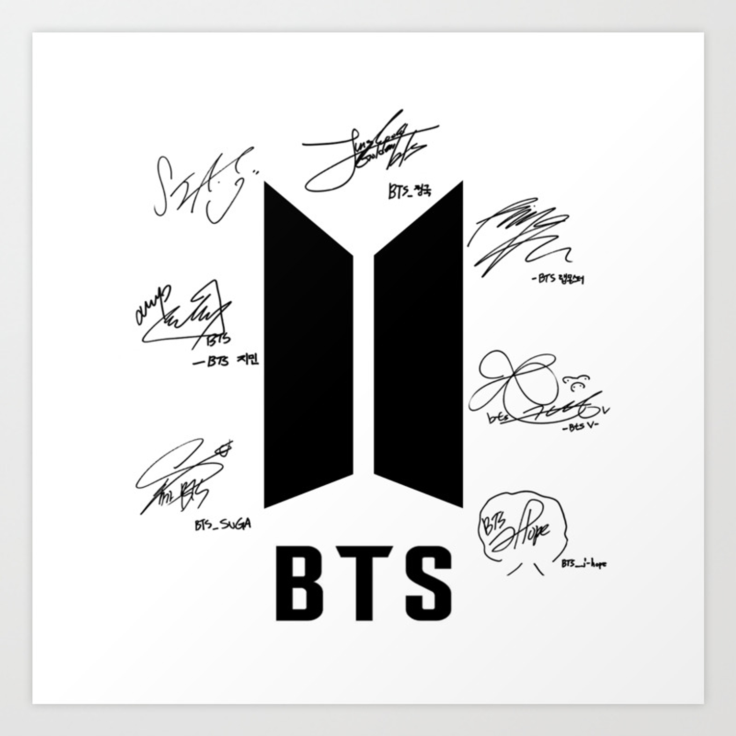 Download Free png bts logo white with signatures Art Print.