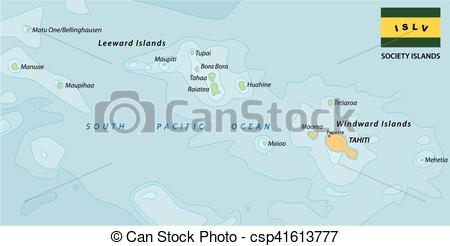 Vectors Illustration of society islands map.