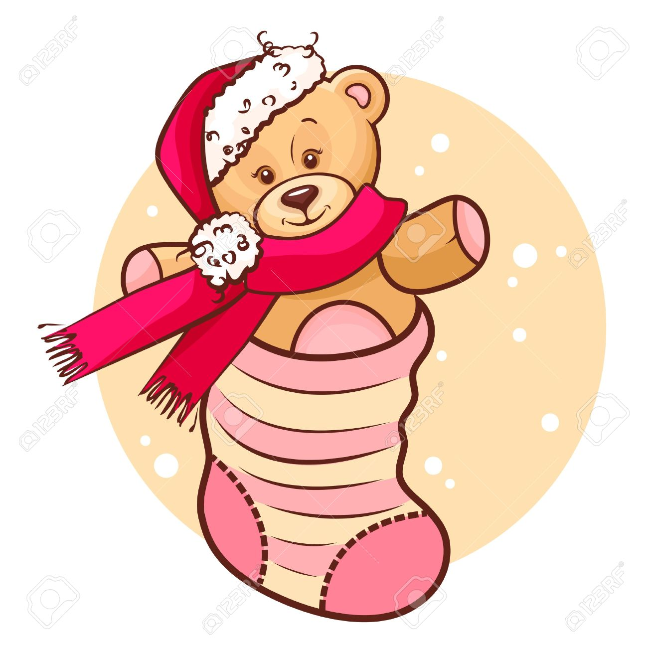 Illustration Of Cute Christmas Teddy Baby In Sock Royalty Free.
