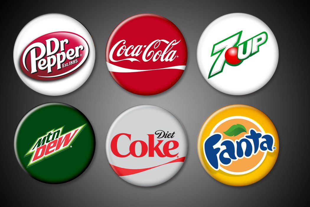 Amazon.com: Soda Logos Pins or Magnets set of 6 Coke, Diet.