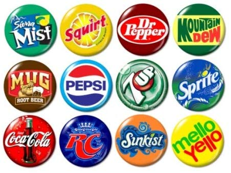 Soda Pop Logo Buttons Pins (set #1).