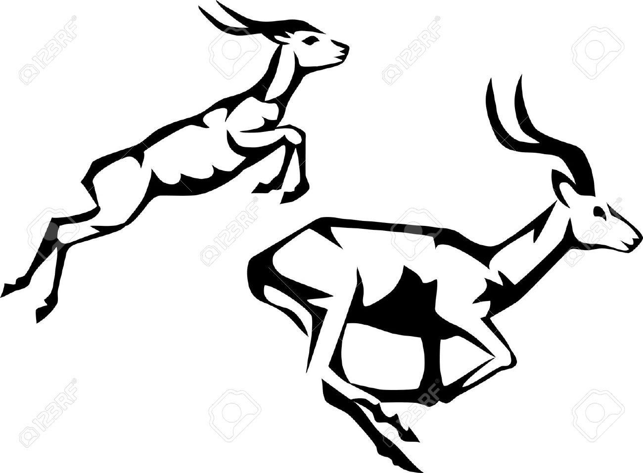 Gazelle Clipart Black And White.