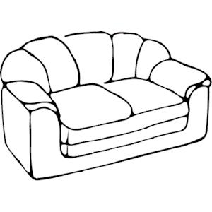 Sofa clipart black and white.