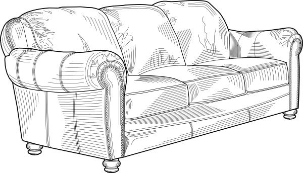 Couch Furniture clip art Free vector in Open office drawing svg.