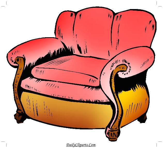 Single Sofa Clipart Icon.