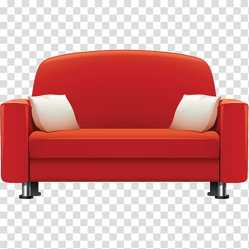 Red sofa with two white throw pillows, Table Furniture Couch.