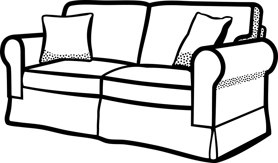 Sofa clipart black and white 7 » Clipart Station.