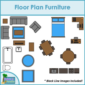 Floor Plan Furniture Clip Art for Digital & Paper Resources.